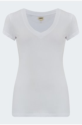 becca v-neck tee in white