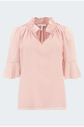 dot clip blouse in rose quartz