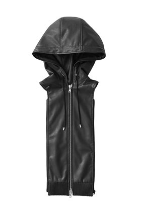vegan leather hoodie dickey in black