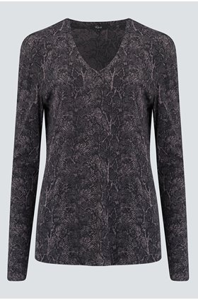 sami top in charcoal snakeskin
