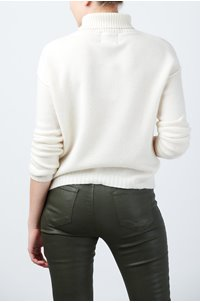 exposed roll neck jumper in cream