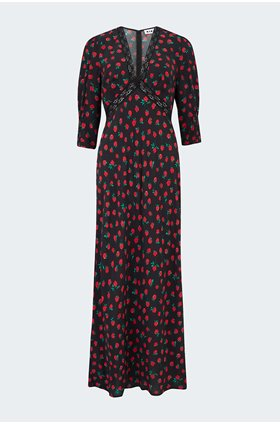 gemma dress in vintage rose black