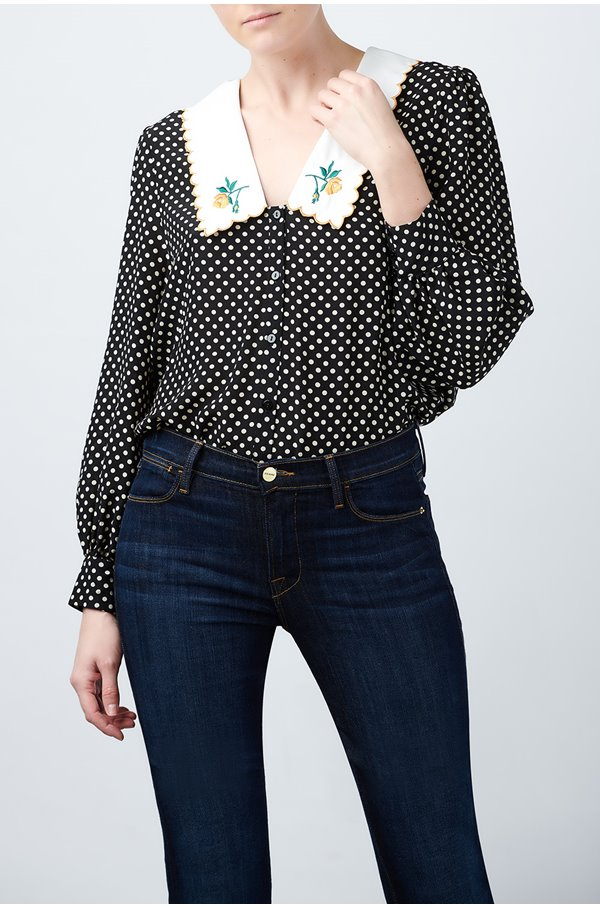 lila embroidered blouse in black polka