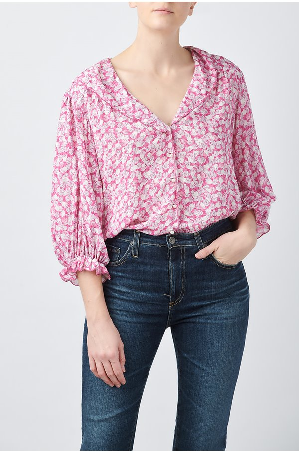 carly floral top in faded pink