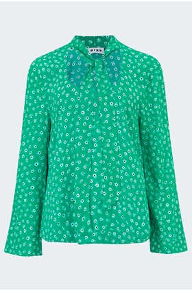 josie blouse in green daisy