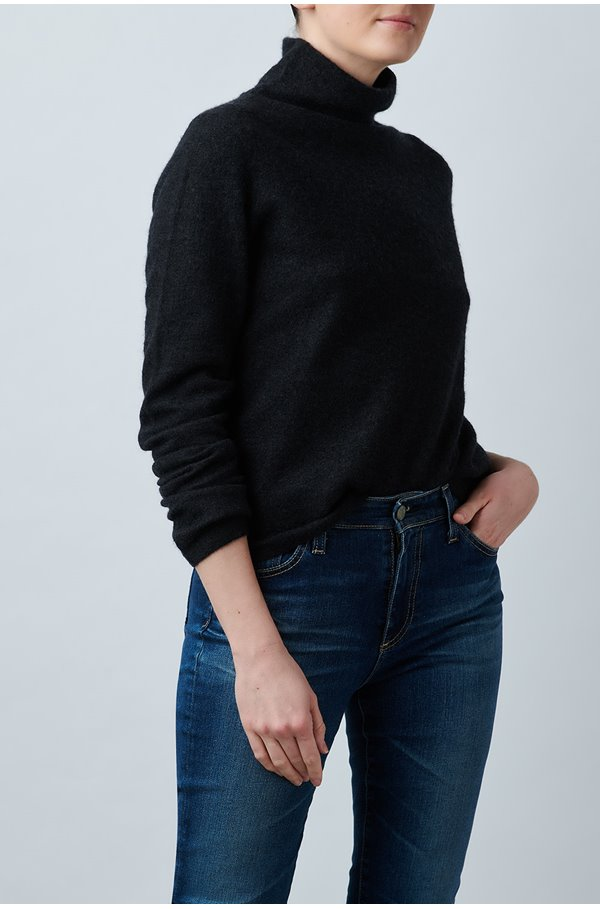 fitted turtleneck jumper in charcoal
