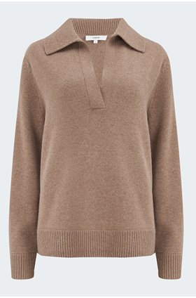 dolman polo jumper in chestnut