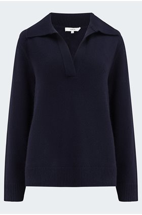 dolman polo jumper in coastal