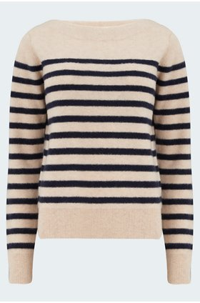 breton boat neck knit in almond