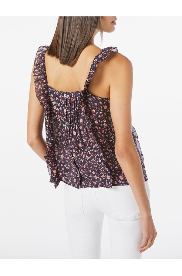 cecile flutter top in navy multi