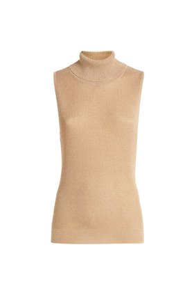 sabrina roll neck top in biscotti