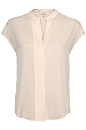 cap sleeve popover top in porcelain