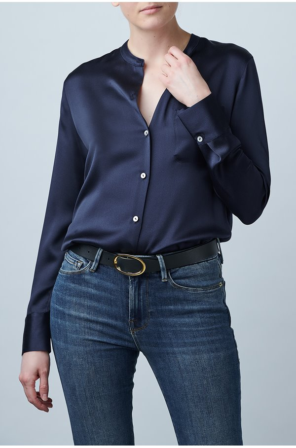 silk band collar blouse in coastal
