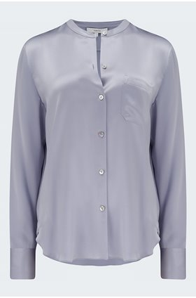 silk band collar blouse in lilac