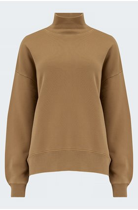 funnel neck sweatshirt in camel