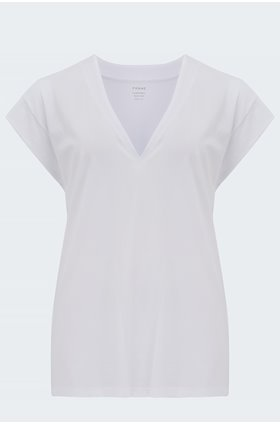 le mid rise v t-shirt in blanc