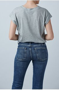 le mid rise v t-shirt in gris heather