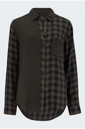 hunter shirt in mixed olive plaid