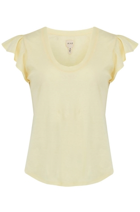 Washed Textured Jersey Top in Lemon