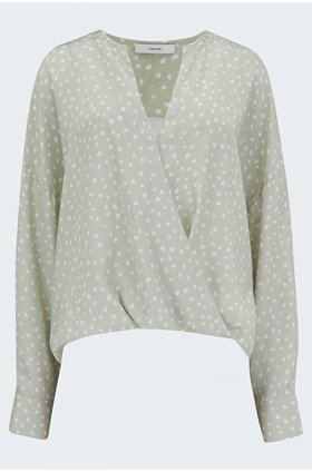 stone wrap blouse in celery