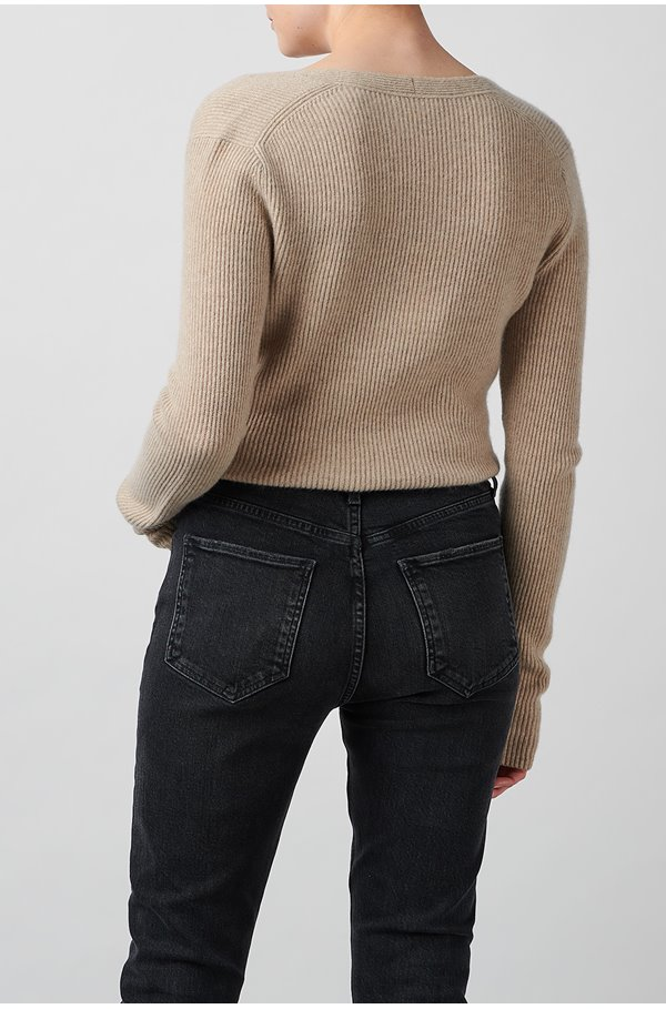 ribbed square neck jumper in oatmeal