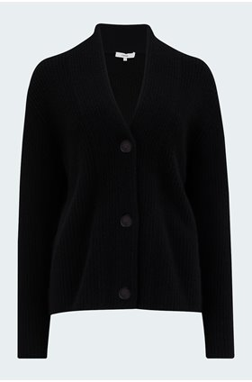 raised collar cardigan in black