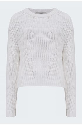 mirrored rib pullover in white