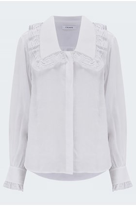 lace collar shirt in blanc
