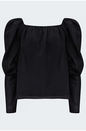 off the shoulder billow top in noir