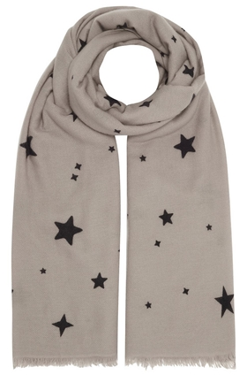 DOUCE GLOIRE Kayoko Star Scarf in Mastic and Black