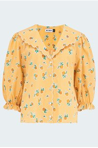 carly blouse in mustard check