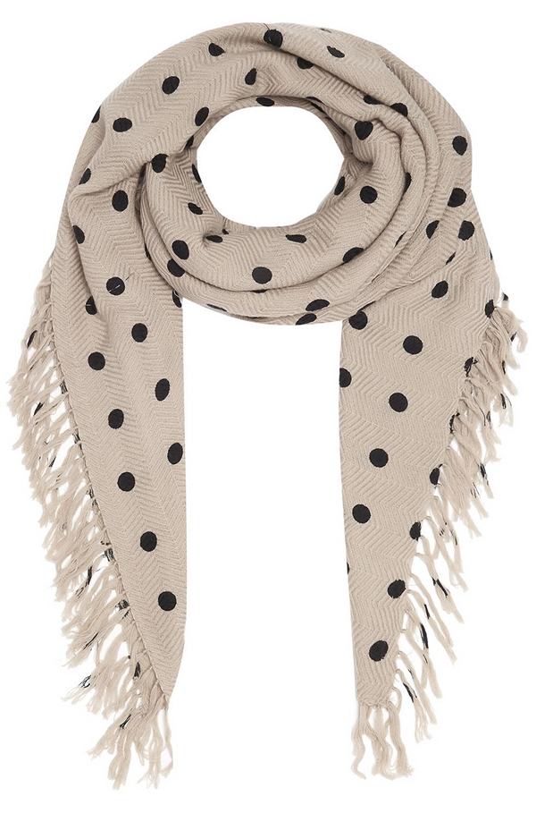 pois dot scarf in mastic and black