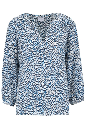 Trilogy Leonie Blouse in Textured Blue Animal