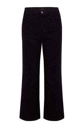 joan wide leg cropped jean in black corduroy