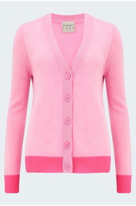 contrast cardigan in flamingo neon pink