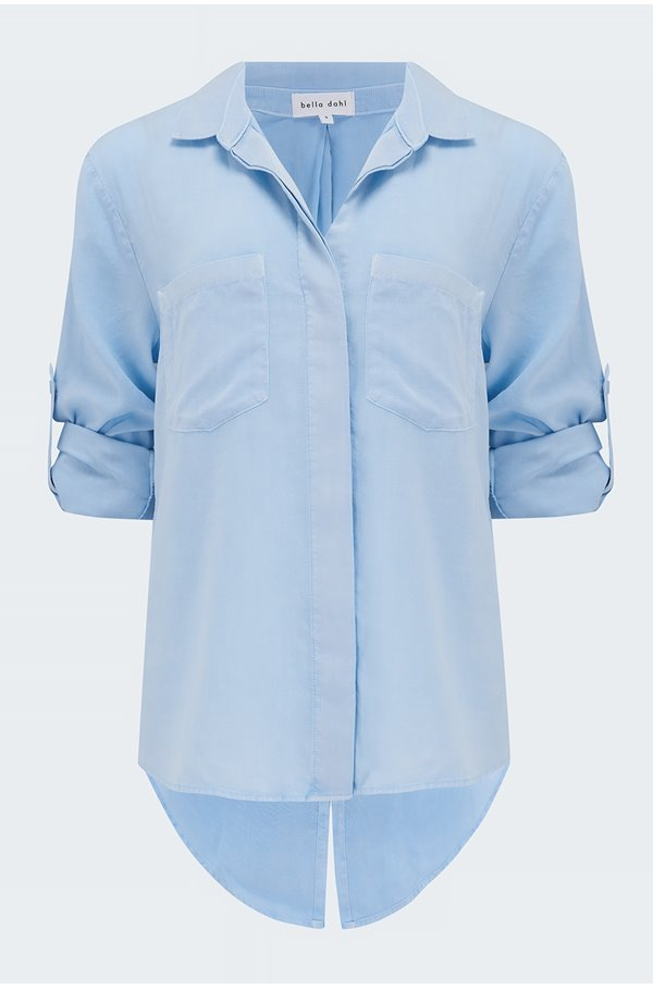 split button down shirt in bluebell