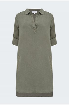 a-line shirt dress in soft army