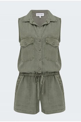 utility romper in soft army