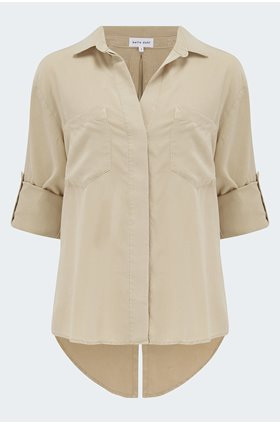 split button down shirt in soft khaki