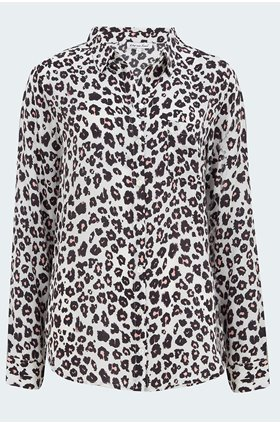 isla classic shirt in ivory leopard