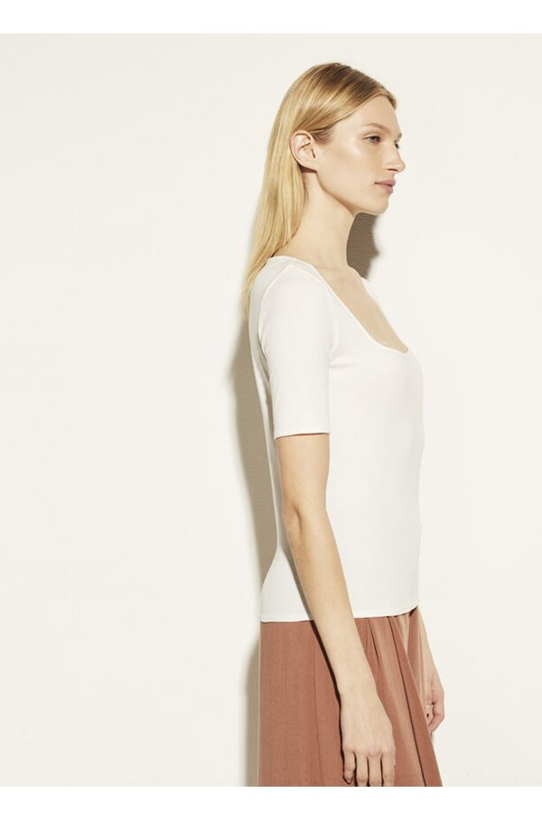 square neck top in off white
