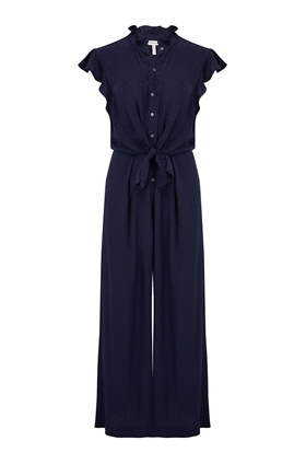 Rebecca Taylor Heart Jacquard Silk Jumpsuit in Navy