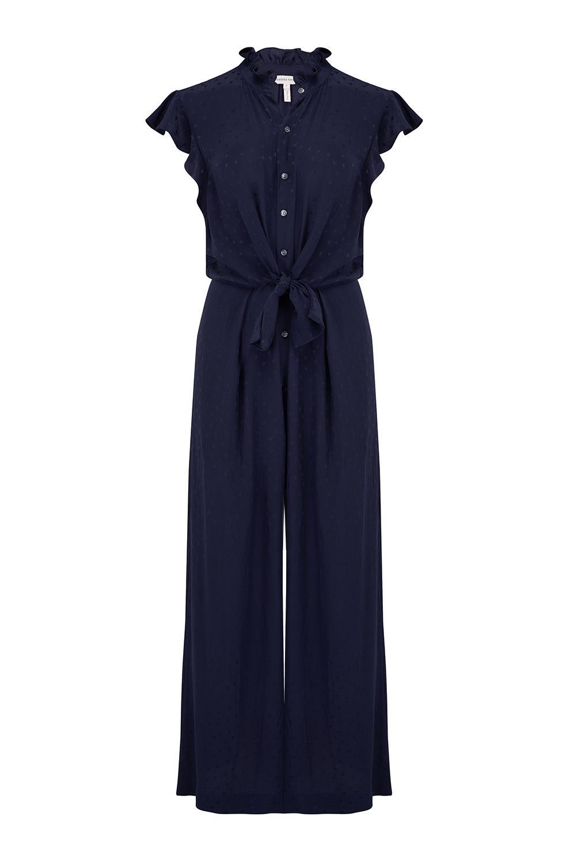 9451058043138f Rebecca Taylor Heart Jacquard Silk Jumpsuit in Navy -