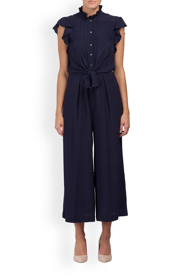 heart jacquard silk jumpsuit in navy