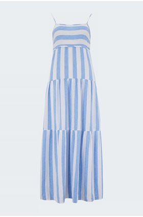 tiered tie maxi dress in sky blue stripe