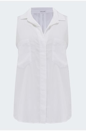 sleeveless button down shirt in white