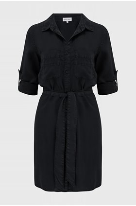 shirt tail dress in black