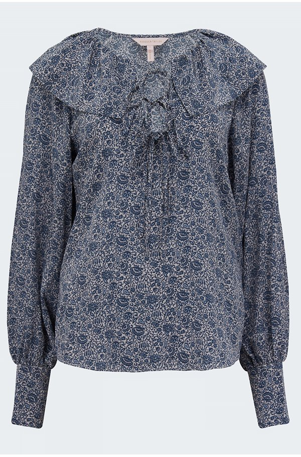 vine print blouse in storm blue combo