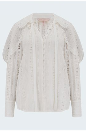 geometric eyelet blouse in snow