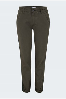 mayslie grosgrain side stripe jogger in vintage moss